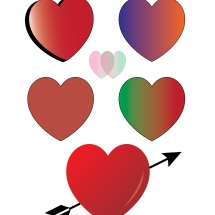 Hearts made in class with Adobe Illustrator